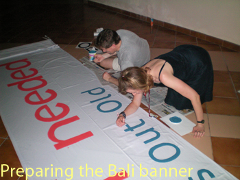 Painting Banner at the UNFCCC in Bali