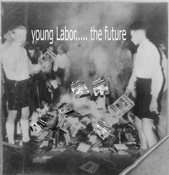Young labor burns books