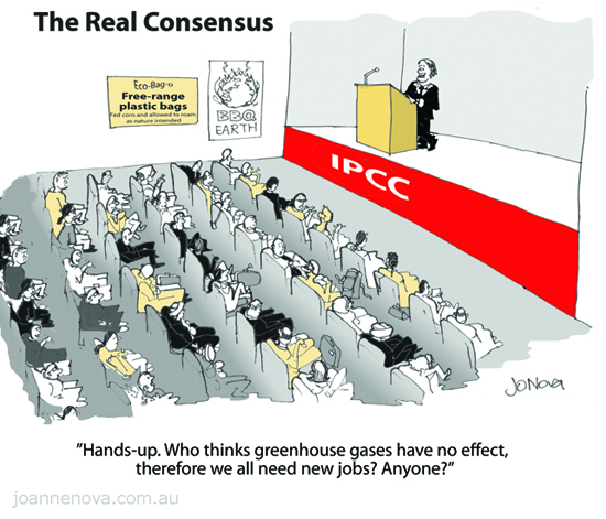 CARTOON, The Real Consensus at the IPCC, climate science, monopolistic funding.
