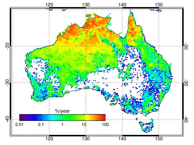 Burned Area Australia, Map, frequency of fires.