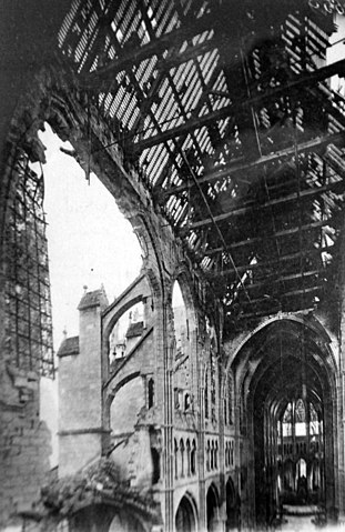 Damage to the cathedral at Soissons, France, WWI (32648880256).jpg