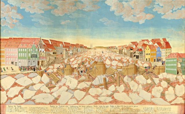 Destruction of the lake bridge in Bamberg during ice floods in 1784 / Kolping family Bamberg