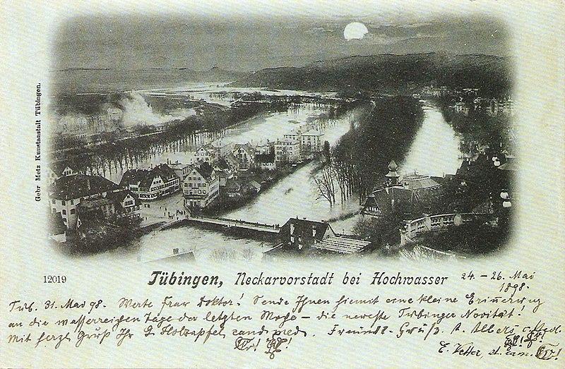 Tübingen. Neckarvorstadt bei Hochwasser 24.–26. Mai 1898. Fotoansichtskarte 12019 der Gebrüder Metz.