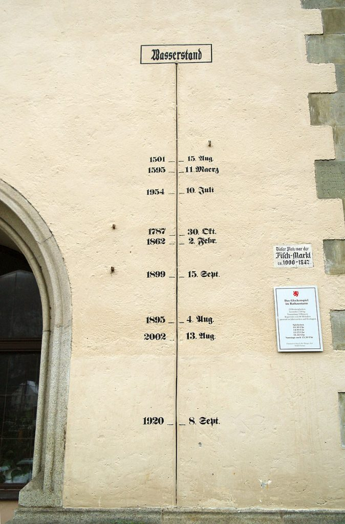 Flood level sign at tower of Town hall of Passau