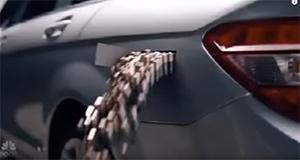 Batteries in EV car. Photo. Joke.