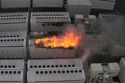 Battery fire.