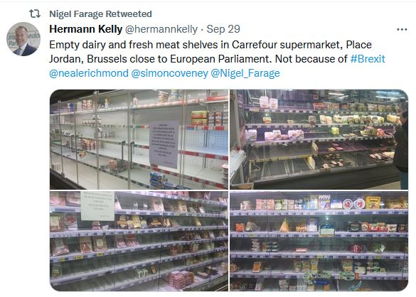Empty dairy and fresh meat shelves in Carrefour supermarket,