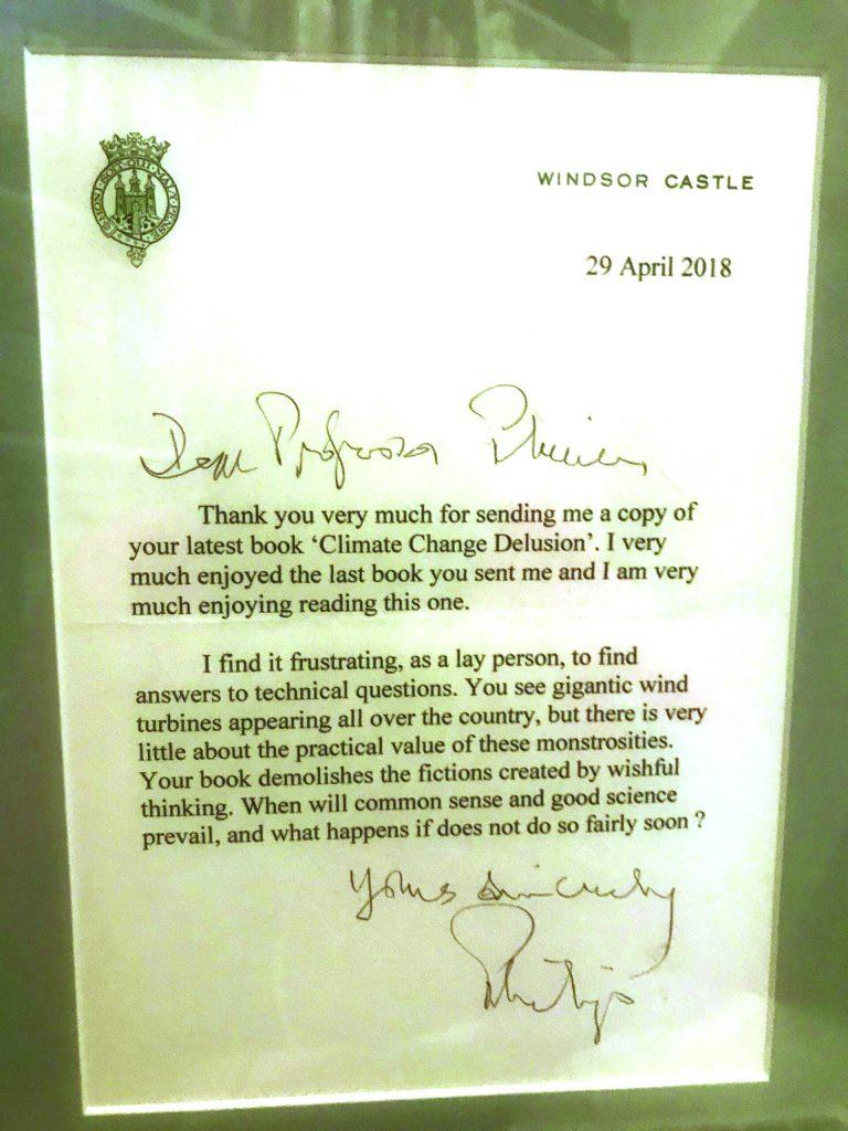 Duke Edinburgh, Climate Change, Letter to Ian Plimer.
