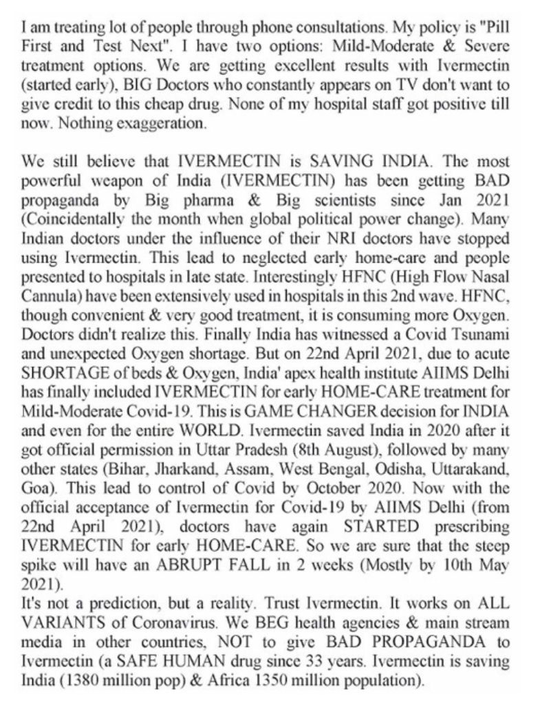 Doctors report from India