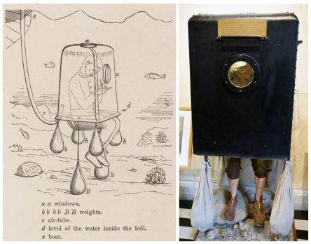 Figure 1. Diving bell constructed by Eugen von Ransonnet and used in the Red Sea and tropical Asia. Left: Sketch from Ransonnet (1867) showing the diving bell. The diver could move forward in any direction by simply raising the weights BB (textile bags with cannon balls), while the boat with the air-pump followed in his wake