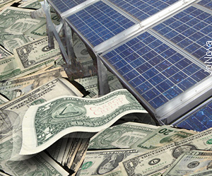 Solar Panels, resting on a river of subsidies. Photo.