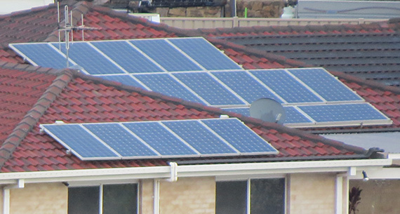 Solar PV on rooftops in Australia, photo.
