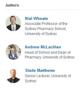 Associate Nial Wheate, Professor Andrew McLachlan and Slade Matthews from the University of Sydney.