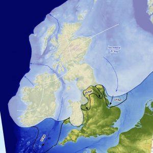 Lat Glacial Maximum, Ice Extent, UK, Map.